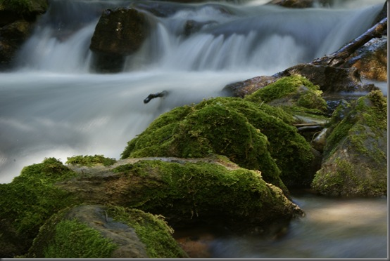 In this one, the moss-covered rocks are the subject and the water compliments
